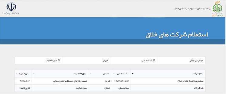 تصویر استعلام شرکت نوین ویپ با نام تجاری مهتاب پردازش ارتباط ایرانیان